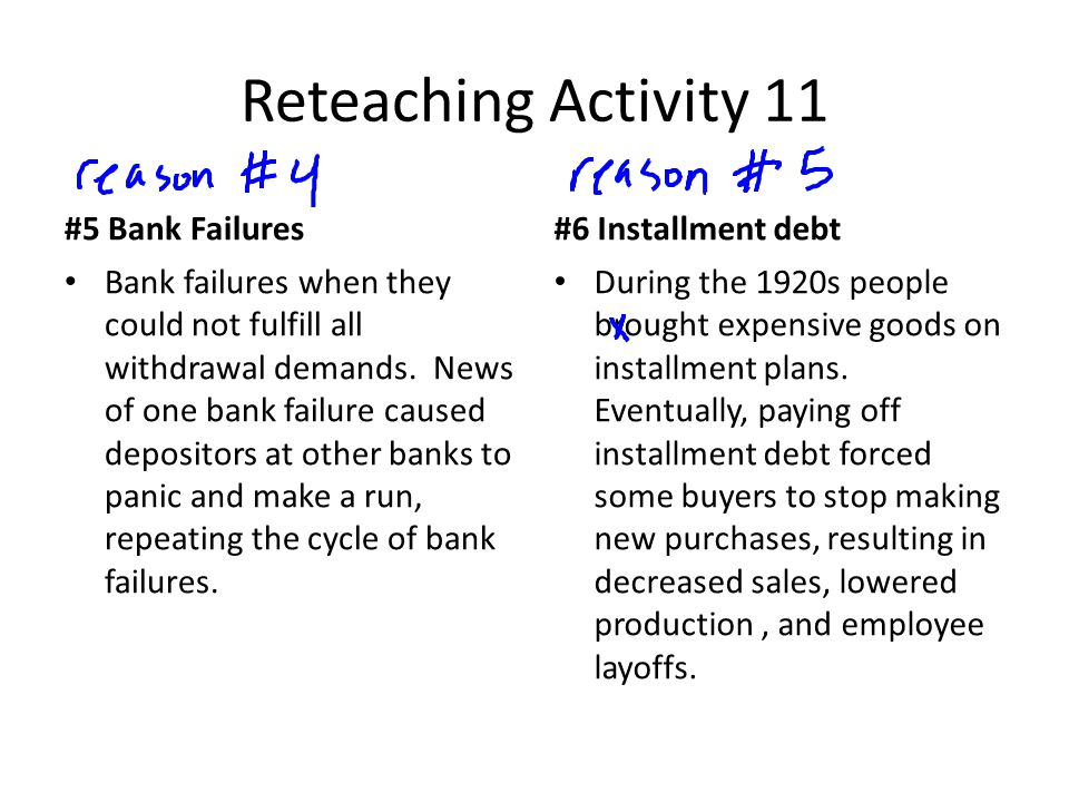 Reteaching Activity 11 #5 Bank Failures Bank failures when they could not fulfill all withdrawal demands.