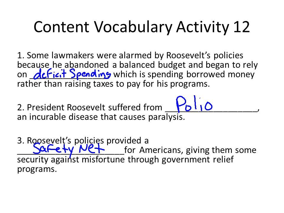Content Vocabulary Activity 12 1.
