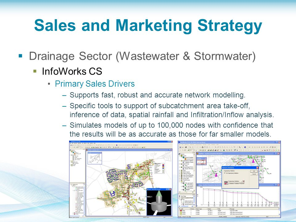 Sales and Marketing Strategy  Drainage Sector (Wastewater & Stormwater)  InfoWorks CS Primary Sales Drivers –Supports fast, robust and accurate network modelling.