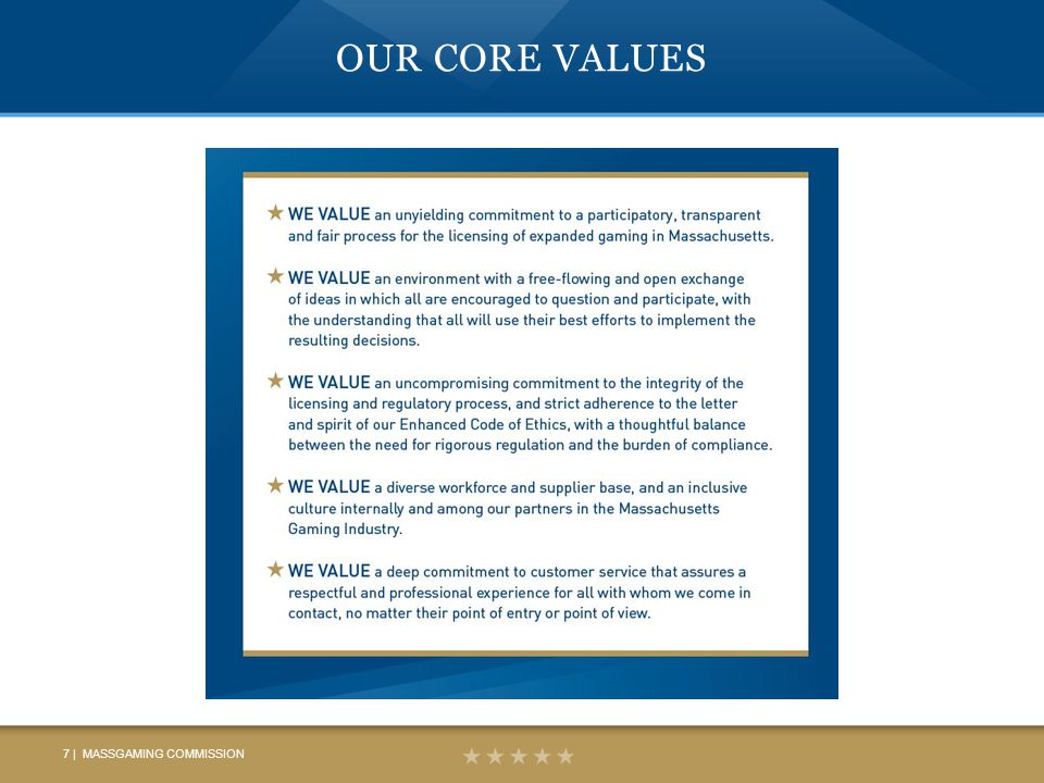 OUR CORE VALUES 7 | MASSGAMING COMMISSION