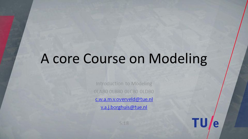 A core Course on Modeling Introduction to Modeling 0LAB0 0LBB0 0LCB0 0LDB0 c.w.a.m.v.overveld@tue.nl v.a.j.borghuis@tue.nl S.18