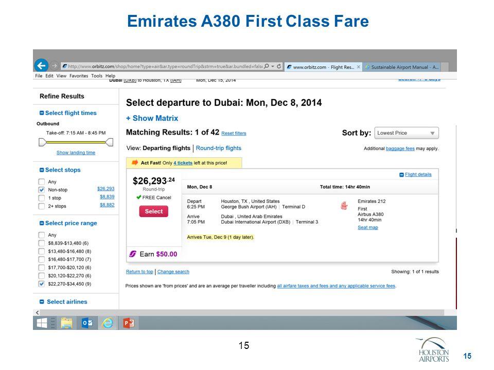 15 Emirates A380 First Class Fare