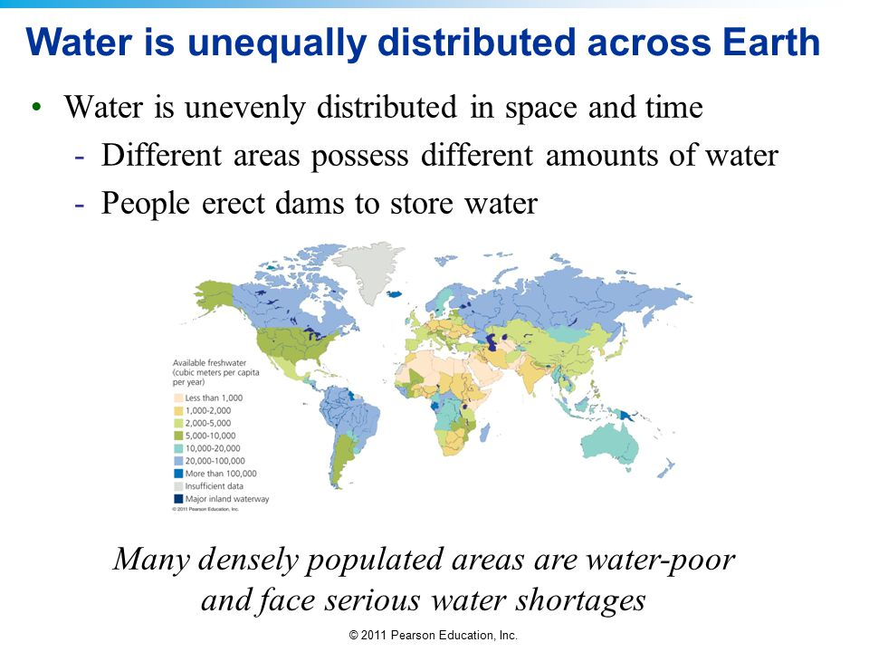 © 2011 Pearson Education, Inc. Water is unequally distributed across Earth Water is unevenly distributed in space and time -Different areas possess di