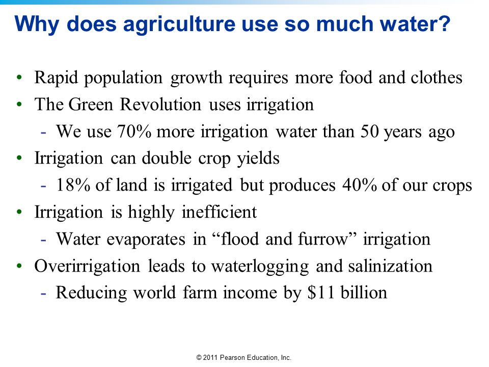 © 2011 Pearson Education, Inc. Why does agriculture use so much water? Rapid population growth requires more food and clothes The Green Revolution use