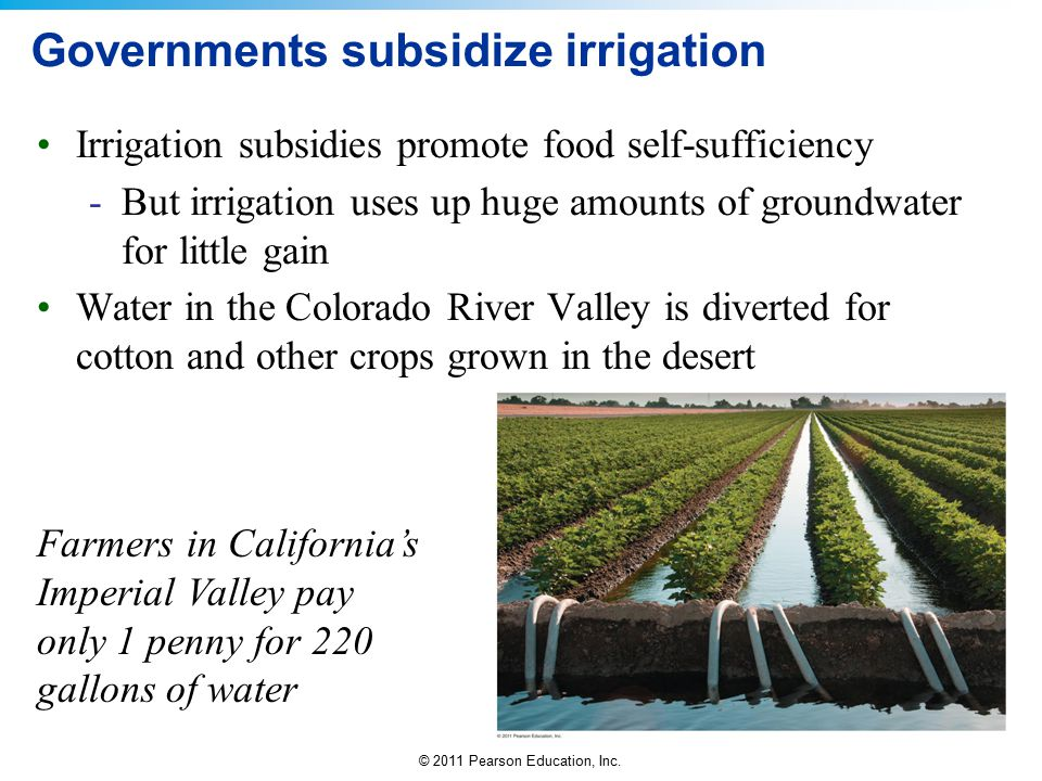 © 2011 Pearson Education, Inc. Governments subsidize irrigation Irrigation subsidies promote food self-sufficiency -But irrigation uses up huge amount
