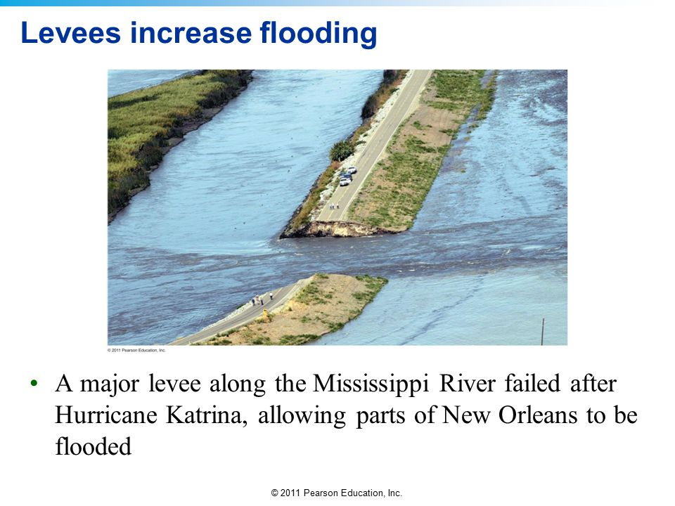 © 2011 Pearson Education, Inc. Levees increase flooding A major levee along the Mississippi River failed after Hurricane Katrina, allowing parts of Ne
