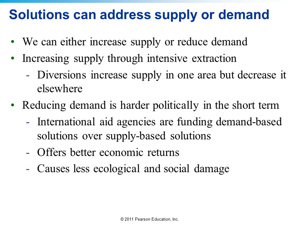 © 2011 Pearson Education, Inc. Solutions can address supply or demand We can either increase supply or reduce demand Increasing supply through intensi