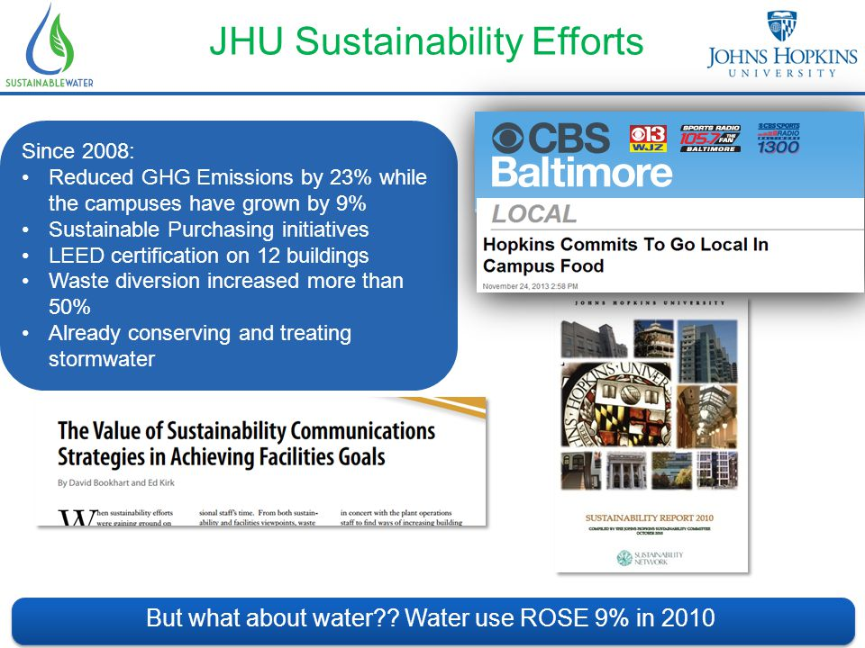 What's Been Done… Energy Efficiency and the CHP at JHU 3 Cogeneration Plants (18MW) Increases Plant EE & Reduces carbon footprint Trigeneration Plant (1.5MW) 85% better than grid electricity Small CHP (75KW Modules) Results: Displace High Carbon content grid electricity Capture & use waste heat