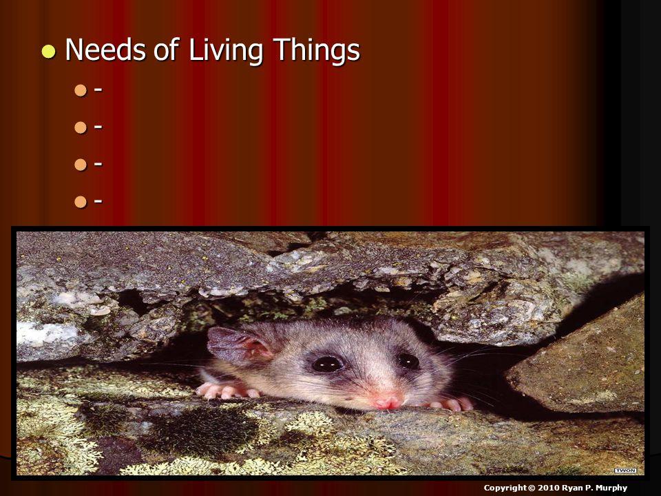 Needs of Living Things Needs of Living Things - - - - Copyright © 2010 Ryan P. Murphy