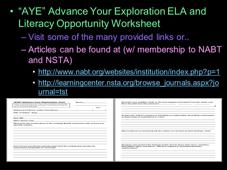"""""""AYE"""" Advance Your Exploration ELA and Literacy Opportunity Worksheet –Visit some of the many provided links or.. –Articles can be found at (w/ member"""