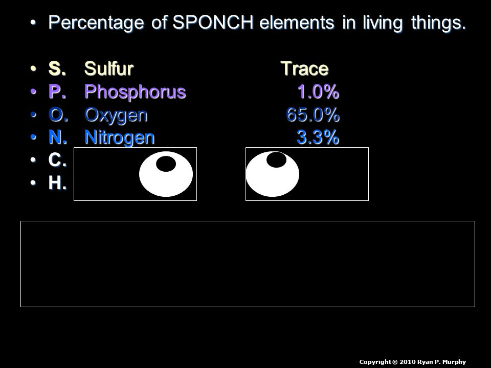 Percentage of SPONCH elements in living things.Percentage of SPONCH elements in living things. S. Sulfur TraceS. Sulfur Trace P. Phosphorus 1.0%P. Pho