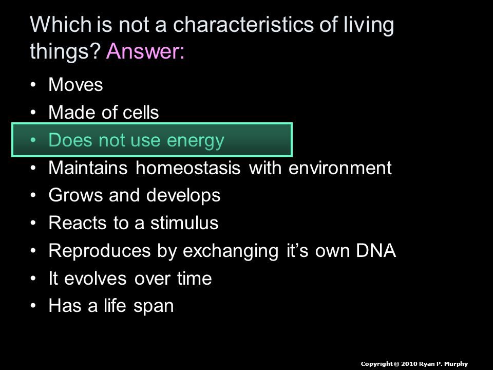 Which is not a characteristics of living things? Answer: Moves Made of cells Does not use energy Maintains homeostasis with environment Grows and deve