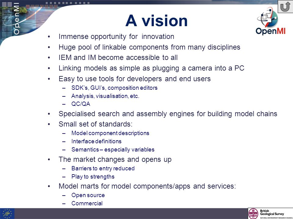 Immense opportunity for innovation Huge pool of linkable components from many disciplines IEM and IM become accessible to all Linking models as simple as plugging a camera into a PC Easy to use tools for developers and end users –SDK's, GUI's, composition editors –Analysis, visualisation, etc.