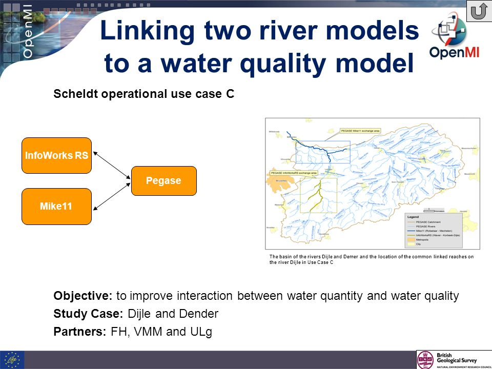 Linking two river models to a water quality model Objective: to improve interaction between water quantity and water quality Study Case: Dijle and Dender Partners: FH, VMM and ULg InfoWorks RS Mike11 Pegase Scheldt operational use case C The basin of the rivers Dijle and Demer and the location of the common linked reaches on the river Dijle in Use Case C