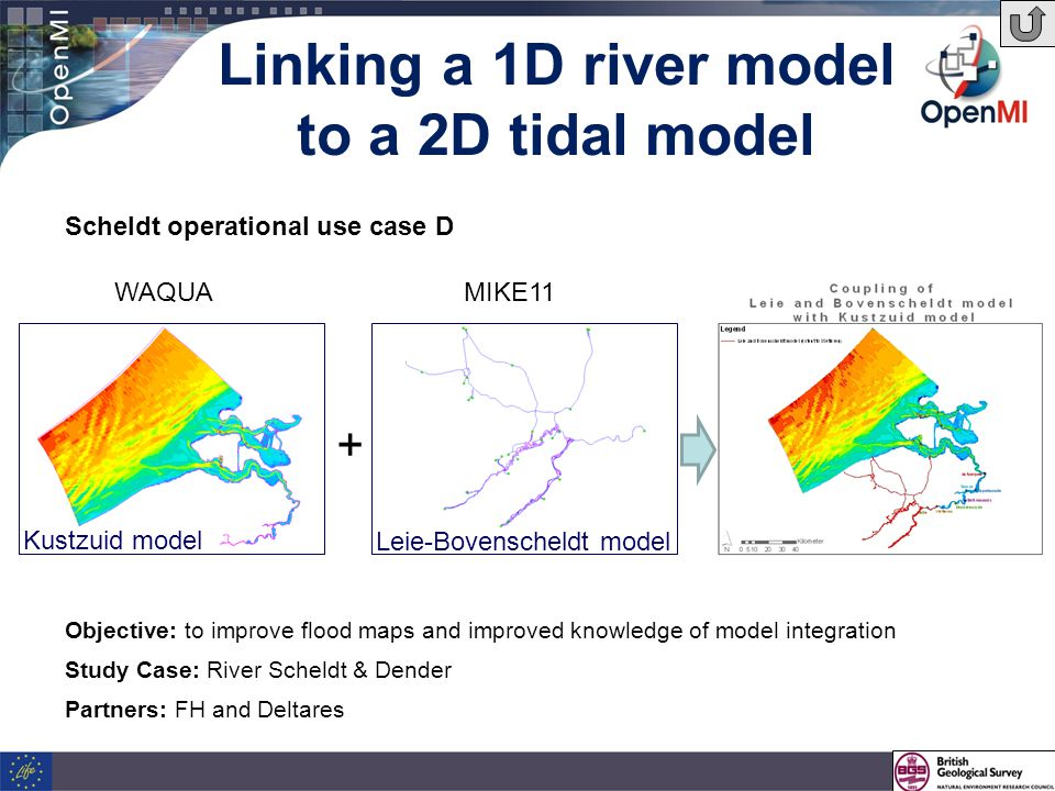Linking a 1D river model to a 2D tidal model Objective: to improve flood maps and improved knowledge of model integration Study Case: River Scheldt & Dender Partners: FH and Deltares Scheldt operational use case D Kustzuid model Leie-Bovenscheldt model WAQUAMIKE11 +