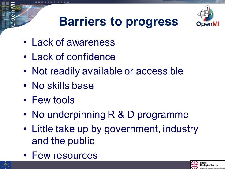Barriers to progress Lack of awareness Lack of confidence Not readily available or accessible No skills base Few tools No underpinning R & D programme Little take up by government, industry and the public Few resources