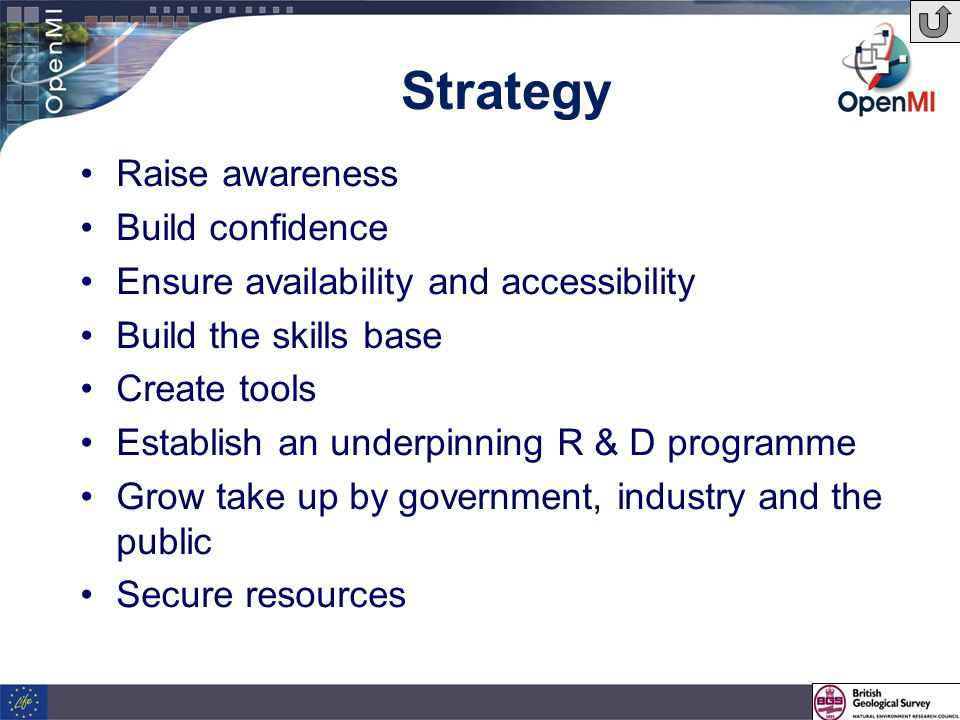 Strategy Raise awareness Build confidence Ensure availability and accessibility Build the skills base Create tools Establish an underpinning R & D programme Grow take up by government, industry and the public Secure resources