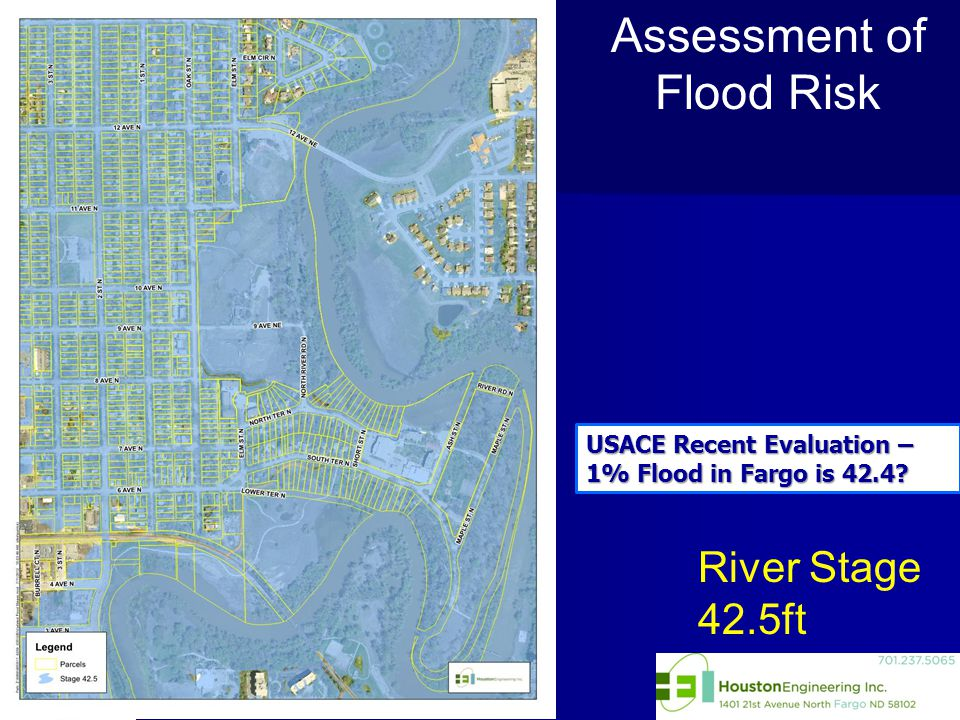 River Stage 42.5ft Assessment of Flood Risk USACE Recent Evaluation – 1% Flood in Fargo is 42.4