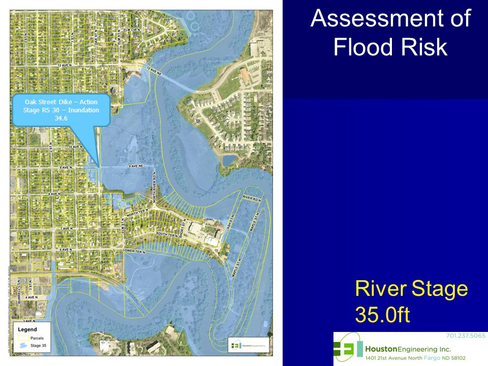 River Stage 35.0ft Assessment of Flood Risk Oak Street Dike – Action Stage RS 30 – Inundation 34.6