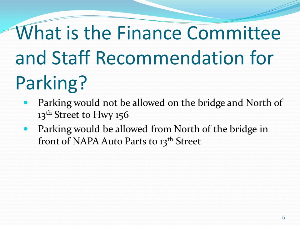 What is the Finance Committee and Staff Recommendation for Parking.