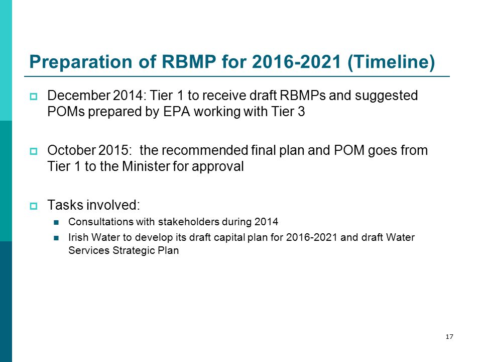 Preparation of RBMP for 2016-2021 (Timeline)  December 2014: Tier 1 to receive draft RBMPs and suggested POMs prepared by EPA working with Tier 3  October 2015: the recommended final plan and POM goes from Tier 1 to the Minister for approval  Tasks involved: Consultations with stakeholders during 2014 Irish Water to develop its draft capital plan for 2016-2021 and draft Water Services Strategic Plan 17