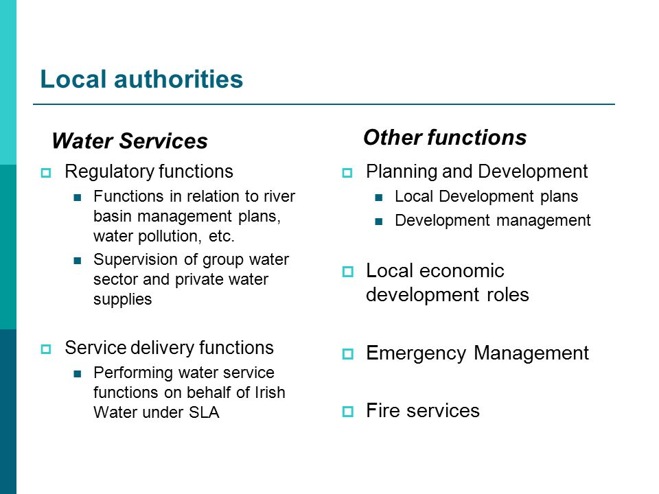Local authorities  Regulatory functions Functions in relation to river basin management plans, water pollution, etc.