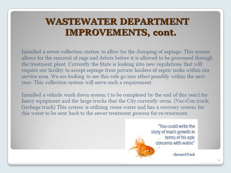 14 WASTEWATER DEPARTMENT IMPROVEMENTS, cont.