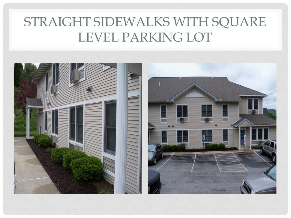STRAIGHT SIDEWALKS WITH SQUARE LEVEL PARKING LOT