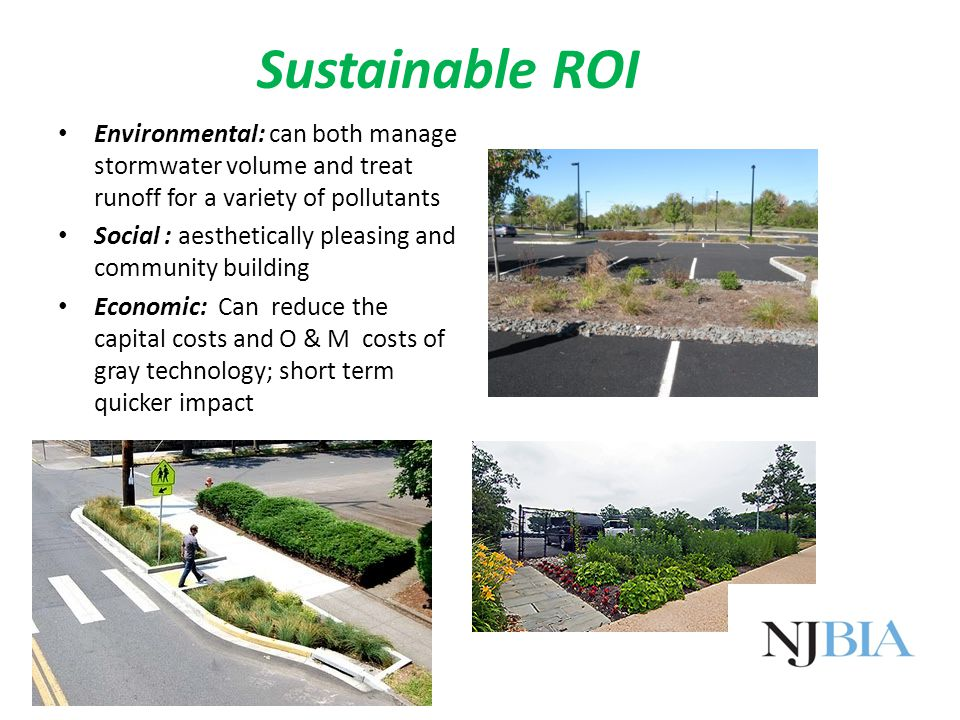 Sustainable ROI Environmental: can both manage stormwater volume and treat runoff for a variety of pollutants Social : aesthetically pleasing and community building Economic: Can reduce the capital costs and O & M costs of gray technology; short term quicker impact