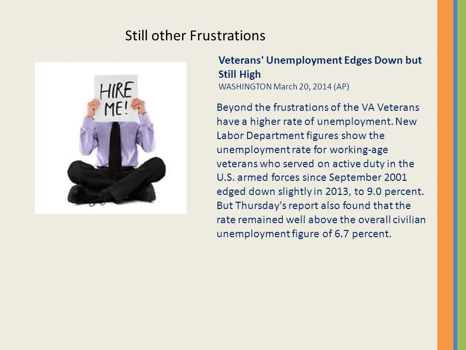 Beyond the frustrations of the VA Veterans have a higher rate of unemployment.