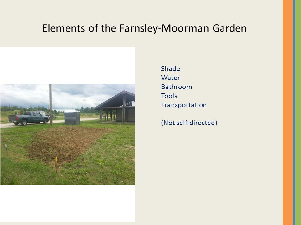 Elements of the Farnsley-Moorman Garden Shade Water Bathroom Tools Transportation (Not self-directed)