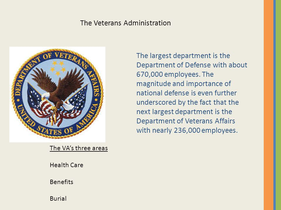 The largest department is the Department of Defense with about 670,000 employees.