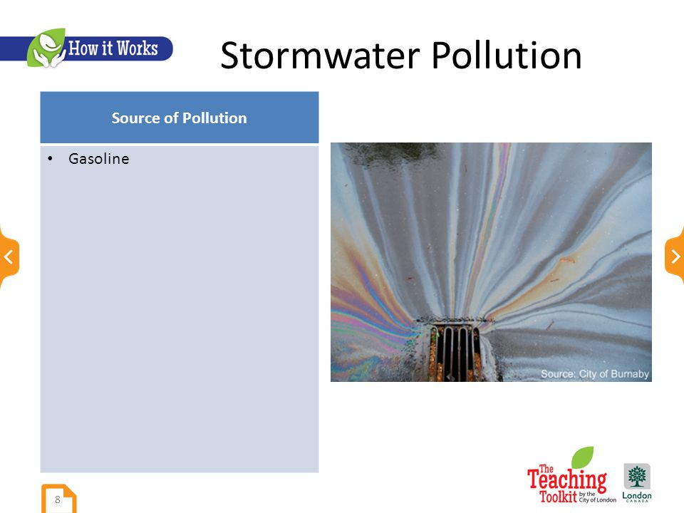 Stormwater Pollution Source of Pollution Gasoline 8
