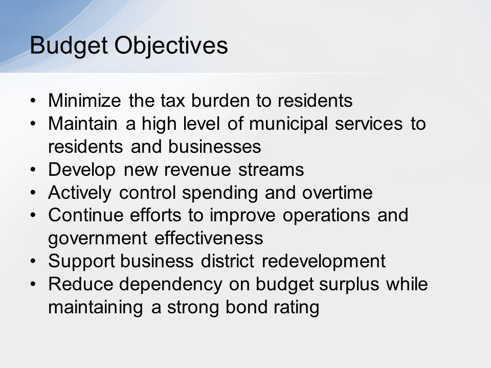 Minimize the tax burden to residents Maintain a high level of municipal services to residents and businesses Develop new revenue streams Actively cont