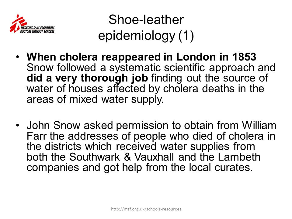 He then visited the homes of all recorded cholera deaths in these districts, to get information about which company supplied water to the household.