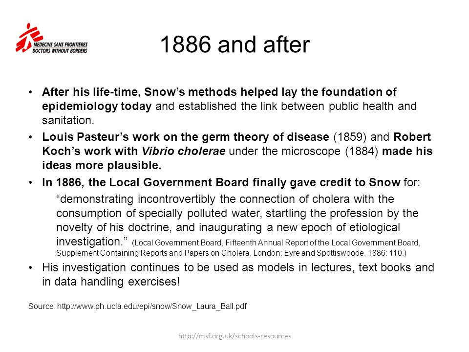 1886 and after After his life-time, Snow's methods helped lay the foundation of epidemiology today and established the link between public health and
