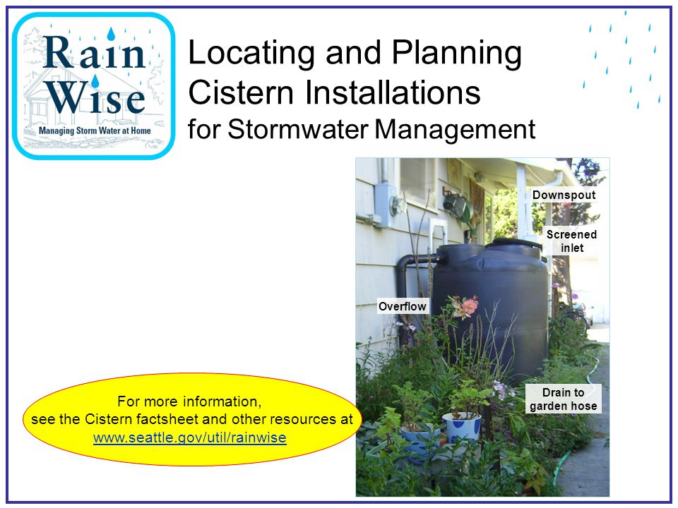 Seattle Public Utilities8 Is this a good site for a cistern.