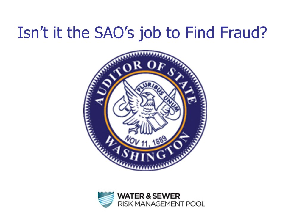 Isn't it the SAO's job to Find Fraud?