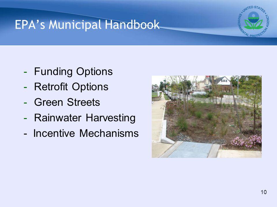 EPA's Municipal Handbook -Funding Options -Retrofit Options -Green Streets -Rainwater Harvesting - Incentive Mechanisms 10