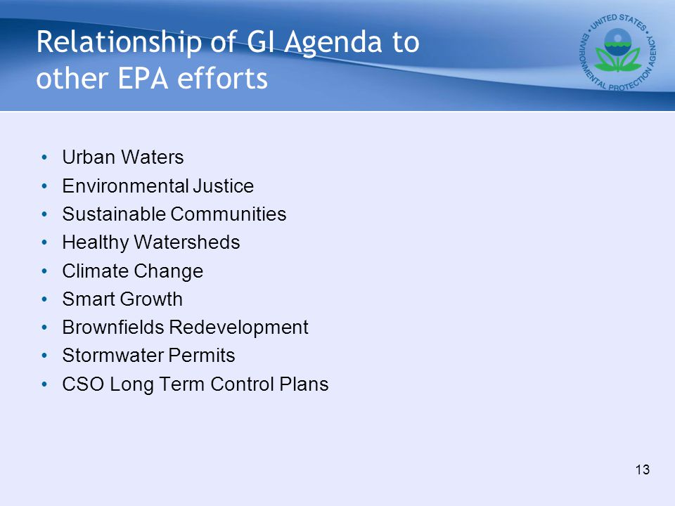 Relationship of GI Agenda to other EPA efforts Urban Waters Environmental Justice Sustainable Communities Healthy Watersheds Climate Change Smart Grow