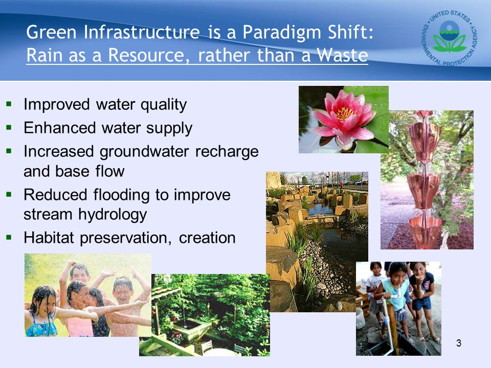 Green Infrastructure is a Paradigm Shift: Rain as a Resource, rather than a Waste  Improved water quality  Enhanced water supply  Increased groundwater recharge and base flow  Reduced flooding to improve stream hydrology  Habitat preservation, creation 3