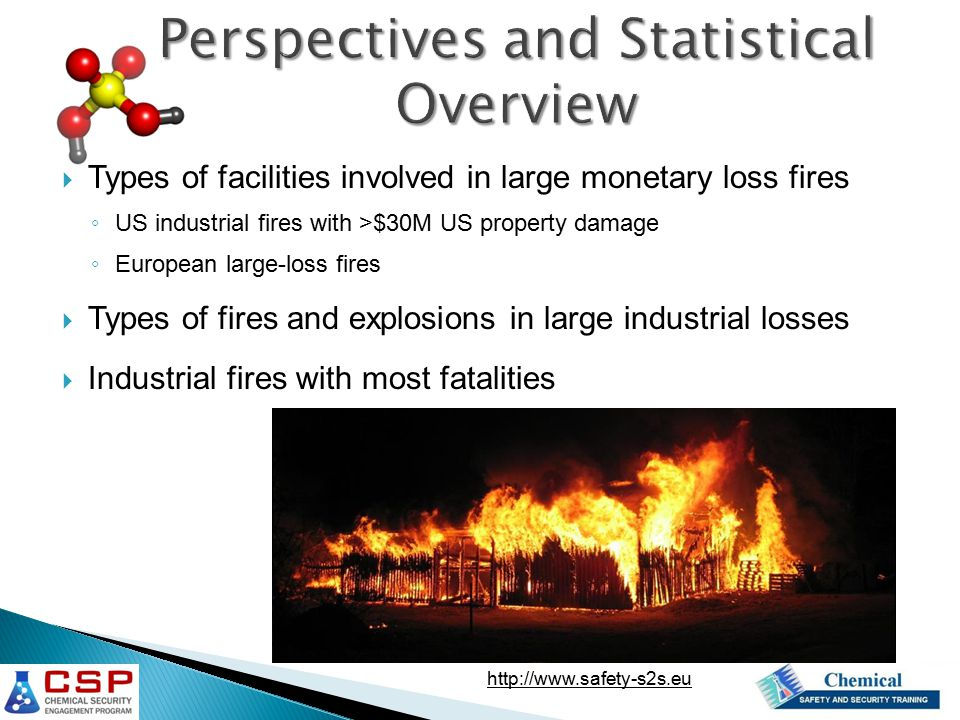  Types of facilities involved in large monetary loss fires ◦ US industrial fires with >$30M US property damage ◦ European large-loss fires  Types of fires and explosions in large industrial losses  Industrial fires with most fatalities http://www.safety-s2s.eu