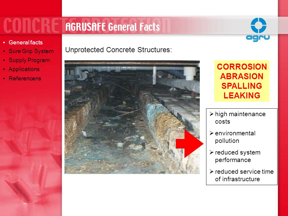 Unprotected Concrete Structures: CORROSION ABRASION SPALLING LEAKING  high maintenance costs  environmental pollution  reduced system performance  reduced service time of infrastructure General facts Sure Grip System Supply Program Applications Referencens AGRUSAFE General Facts
