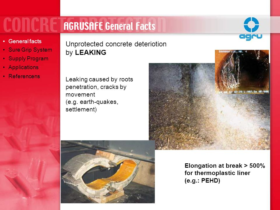 Segment relining of underground sewer tunnels Installation of liner with special hydraulic formwork – mechanical fixation of CPL General facts Sure Grip System Supply Program Applications Referencens AGRUSAFE REFERENCES