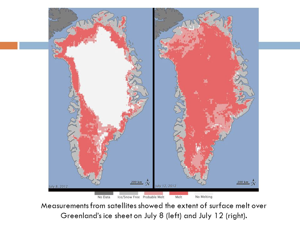 Measurements from satellites showed the extent of surface melt over Greenland's ice sheet on July 8 (left) and July 12 (right).