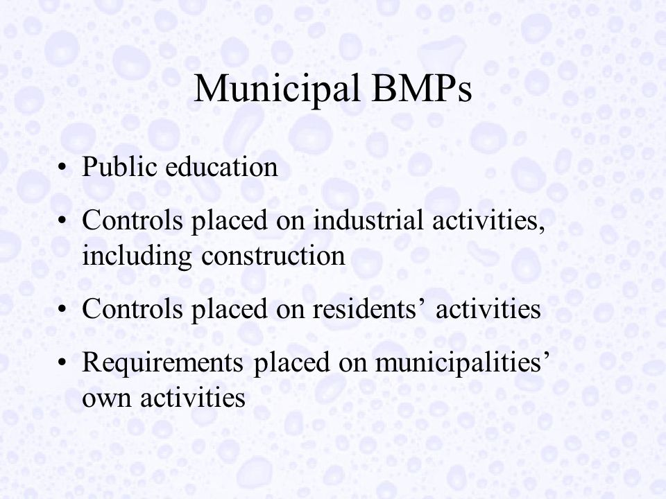 Municipal BMPs Public education Controls placed on industrial activities, including construction Controls placed on residents' activities Requirements placed on municipalities' own activities