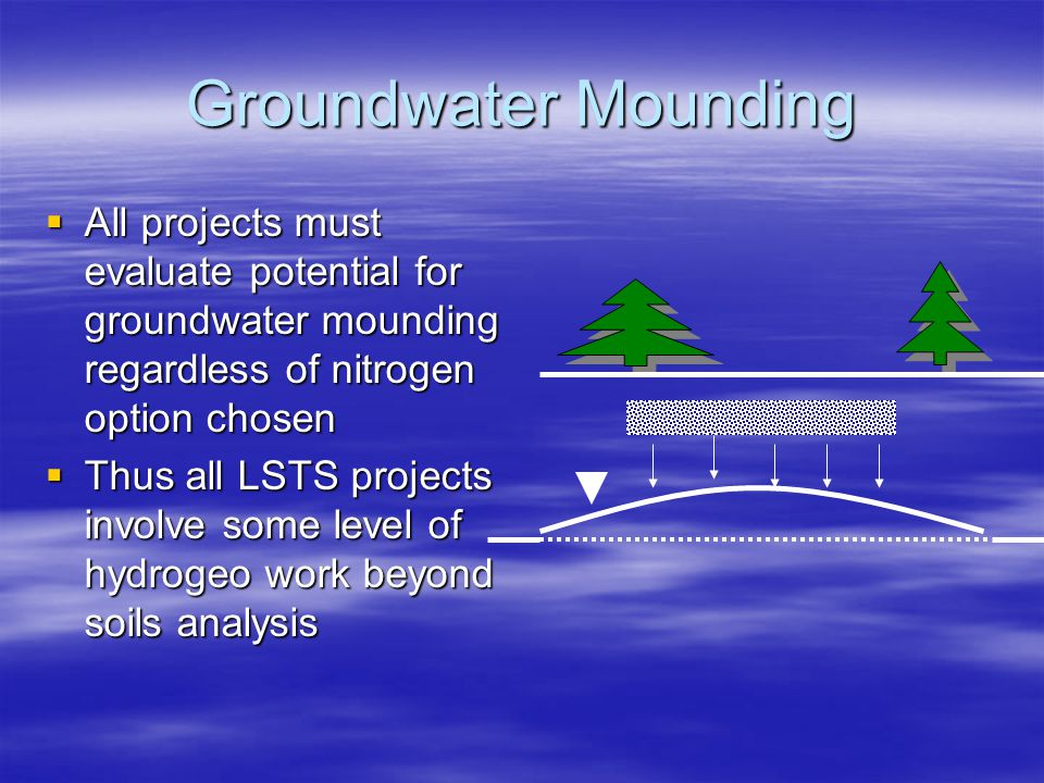 Groundwater Mounding  All projects must evaluate potential for groundwater mounding regardless of nitrogen option chosen  Thus all LSTS projects inv