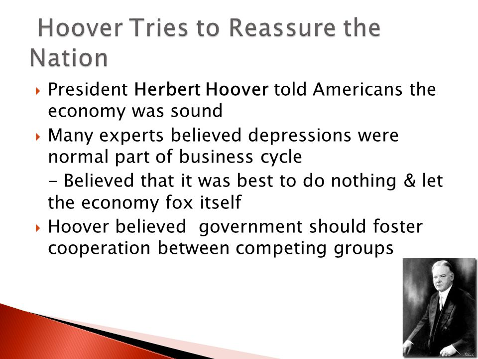  President Herbert Hoover told Americans the economy was sound  Many experts believed depressions were normal part of business cycle - Believed that it was best to do nothing & let the economy fox itself  Hoover believed government should foster cooperation between competing groups