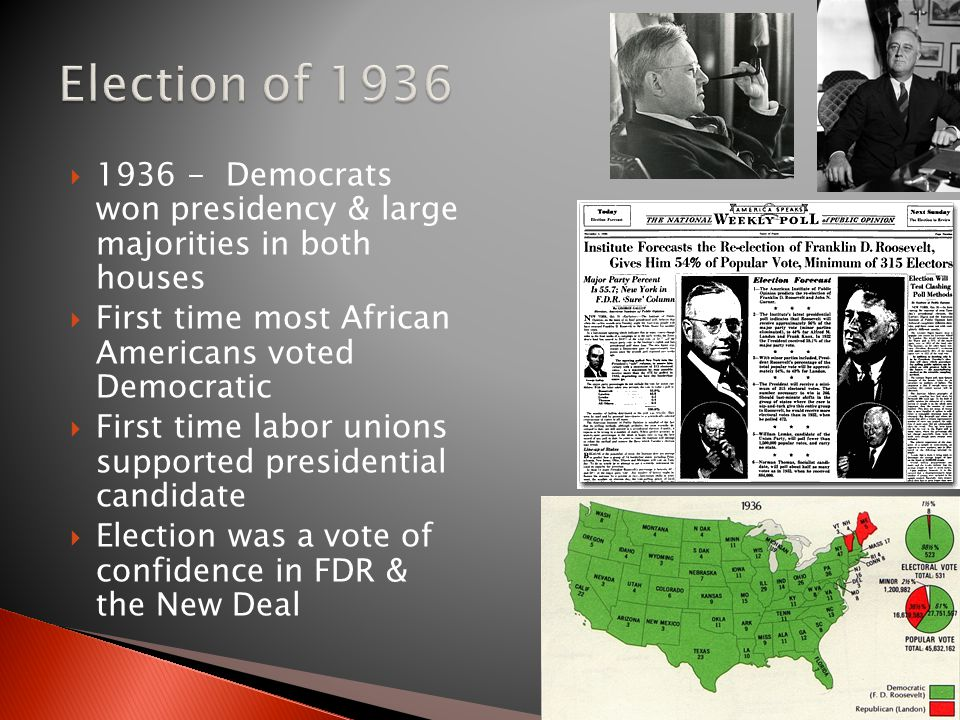  1936 - Democrats won presidency & large majorities in both houses  First time most African Americans voted Democratic  First time labor unions supported presidential candidate  Election was a vote of confidence in FDR & the New Deal