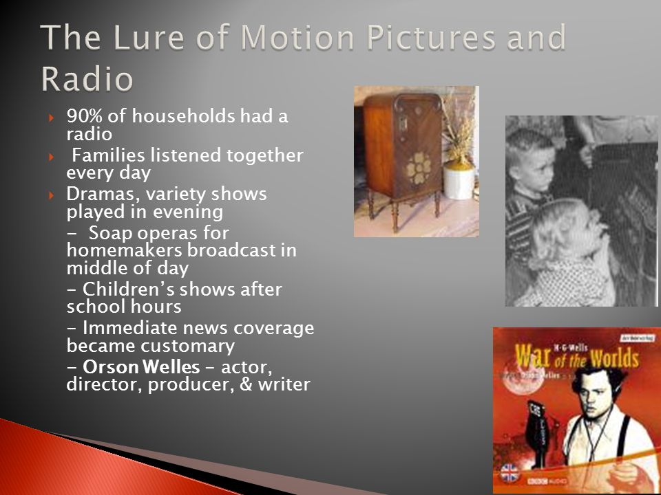  90% of households had a radio  Families listened together every day  Dramas, variety shows played in evening - Soap operas for homemakers broadcast in middle of day - Children's shows after school hours - Immediate news coverage became customary - Orson Welles - actor, director, producer, & writer